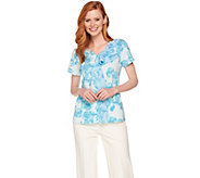 H by Halston Short Sleeve Floral Print Top w/ Chiffon Flounce Detail - A289366