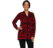 As Is Dennis Basso Zebra Jacquard Zip Front Cardigan - A291166