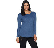 Lisa Rinna Collection Tulip Hem Long Sleeve Knit Top - A294466