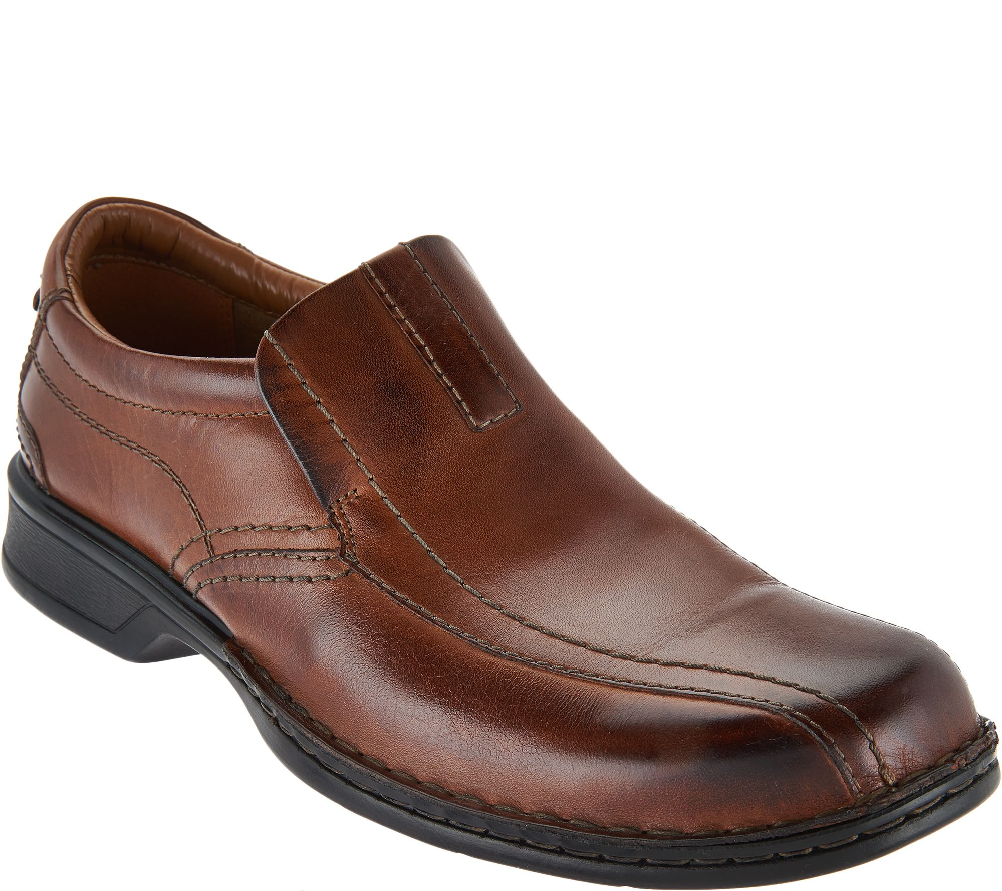 clarks s leather slip on shoes escalade step qvc