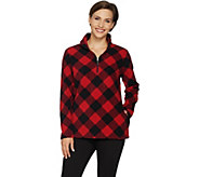 Denim & Co. Plaid Fleece Long Sleeve Half-Zip Pullover - A297766