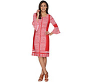Susan Graver Printed Liquid Knit Dress with Bell Sleeves - A301166