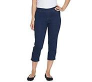 Denim & Co. Petite Soft Stretch Pull On-Indigo Crop Jean - A301766