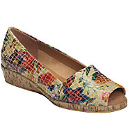 Aerosoles Sprig Break Leather Peep Toe Wedge Slip-on Shoes - A331666