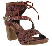 LArtiste By Spring Step Leather Perforated Sandals - Sujala - A356566