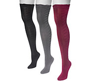 MUK LUKS Womens 3 Pair Pack Lace Texture Overthe Knee Socks - A361466