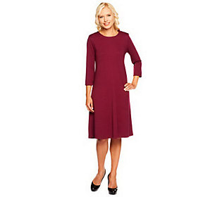 Susan Graver Ponte Knit Jewel Neck 3/4 Sleeve Swing Dress