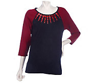 Bob Mackies Colorblock Sweater with Jeweled Neckline - A209267