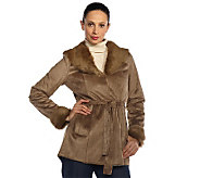 Isaac Mizrahi Live! Shearling Coat with Faux Fur Trim - A212267