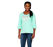 Quacker Factory Embroidered Floral Heart 3/4 Sleeve T-shirt - A221767