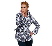 Joan Rivers Floral Print Short Belted Trench - A222767