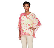 Bob Mackies Boat Neck Placement Print Caftan Top with Tank - A223767