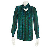 Bob Mackies Ombre Leopard Print Blouse and Scarf - A229267
