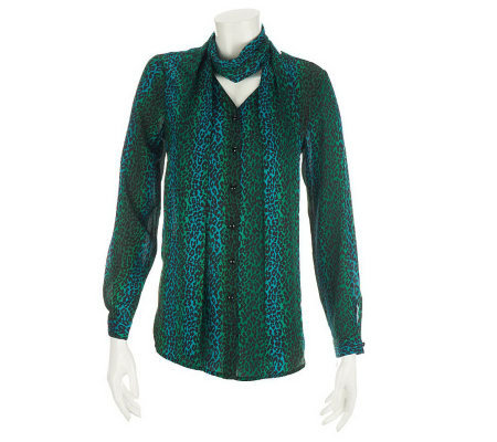 bob mackie s ombre leopard print blouse and scarf