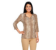 Susan Graver Foil Printed Liquid Knit Top with Collar - A229767
