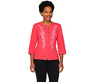Bob Mackies Smart Denim Floral Embroidered Zip Jacket - A234067