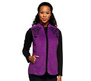 Susan Graver Fleece Vest w/ Front Zipper and Contrast Embellishments - A239767