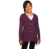 LOGO Littles by Lori Goldstein Cotton Cashmere Cardigan with Asymmetric Hem - A255467