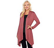 LOGO Layers by Lori Goldstein Knit Cardigan w/ Sharkbite Hem - A255767