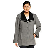 As Is Denim & Co. Button Front Shawl Collar Jacket - A256367