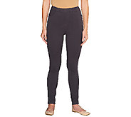 Denim & Co. Petite Comfy Knit Denim Pull- On Leggings - A256967