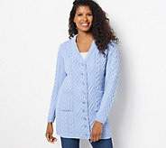 Aran Craft Merino Wool Long Boyfriend Button Front Cardigan - A261167