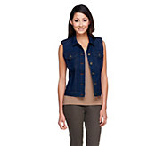 As Is Denim & Co. Button Front Stretch Denim Cropped Vest - A262167