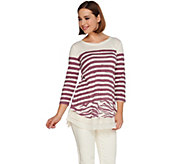 LOGO by Lori Goldstein Stripe Slub Top with Lace and Chiffon Hem - A263267