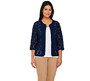 Joan Rivers Open Front Lace Jacket with 3/4 Sleeve - A263867