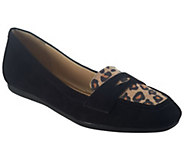As Is Isaac Mizrahi Live! Suede Loafers with Novelty Trim - A264067