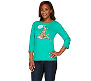 Bob Mackies 3/4 Sleeve Jeweled Novelty Cheetah Printed T-shirt - A265367