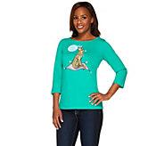Bob Mackies 3/4 Sleeve Jeweled Novelty Cheetah Printed T-shirt - A265367
