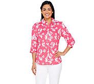 Denim & Co. Printed Button Front Woven Shirt - A266467