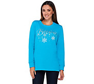 Quacker Factory Believe in Winter Wishes French Terry Sweatshirt - A268967