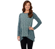 LOGO by Lori Goldstein Sweater Knit Top with Boucle Panels