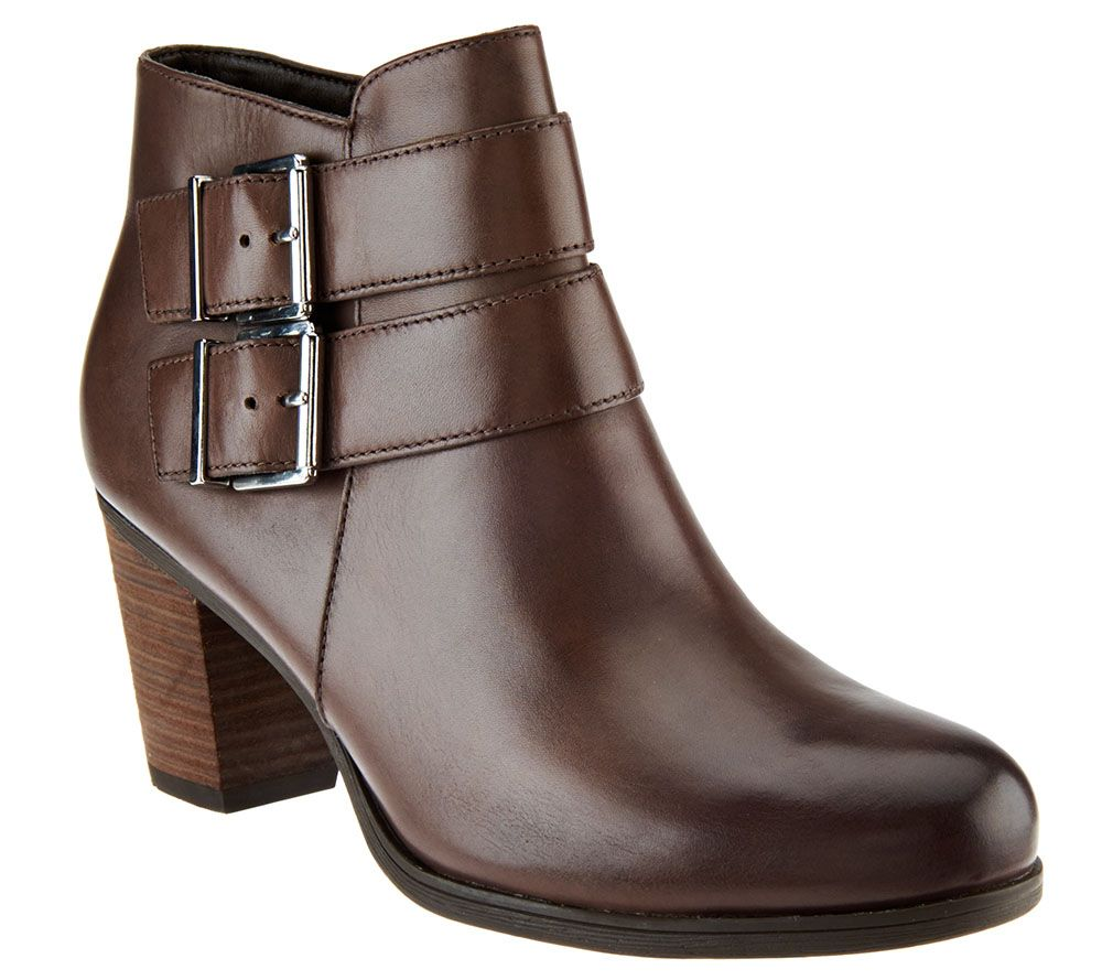 clarks artisan leather ankle boots with buckle palma