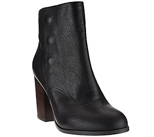 Sole Society Leather Ankle Boots w/Snap Detail - Henley