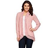 Liz Claiborne New York Open Front Cardigan w/ Crochet Trim - A271367
