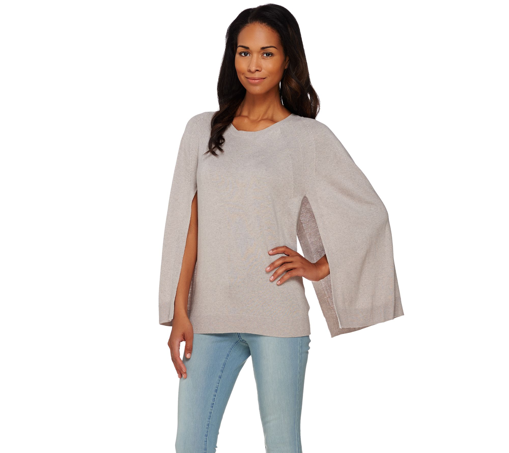 H by Halston Silk-Cashmere Blend Pullover Sweater Cape - Page 1 ...