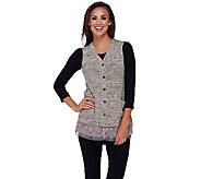 As Is LOGO by Lori Goldstein Sweater Knit Vest w/ Lace & Chiffon Hem - A276267