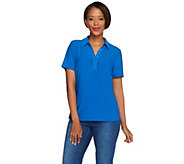 Susan Graver Liquid Knit Short Sleeve Polo Shirt with Print Trim - A276467