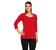 As Is George Simonton Milky Knit Raglan Sleeve Top with Seam Detail - A278367