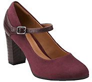 As Is Clarks Suede & Croco Leather Mary Jane Pumps - Bavette Cathy - A278667