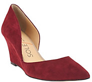 As Is Sole Society Suede Pointed Toe Wedges - Jillian - A278767