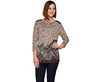 Susan Graver Printed Liquid Knit Drape Neck 3/4 Sleeve Top - A278867