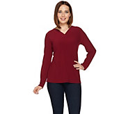 Susan Graver Essentials Textured Liquid Knit Long Sleeve Top - A279767