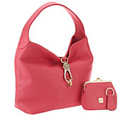 As Is Dooney & Bourke Leather Hobo w/ Logo Lock and Accessories - A281967