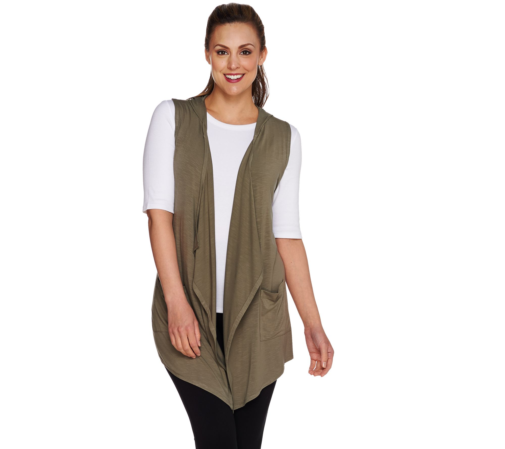 quot as is quot logo by lori goldstein open front knit vest with hood qvc com