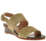 As Is Judith Ripka Leather Wedge Sandals with Backstrap - Zoe - A288967