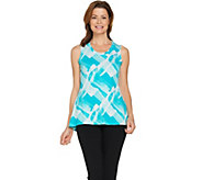 H by Halston Brush Stroke Print Scoop Neck Knit Tank - A289367